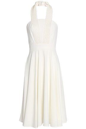 HALSTON HERITAGE Fluted cady halterneck dress