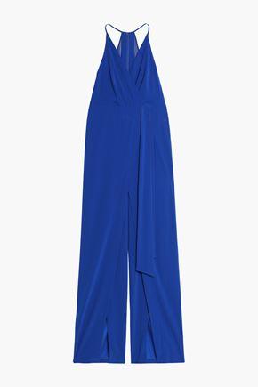 HALSTON HERITAGE Wrap-effect chiffon-paneled crepe jumpsuit