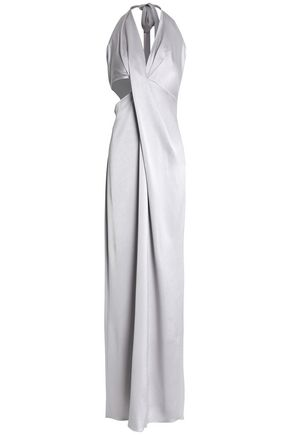 HALSTON HERITAGE Metallic twisted-front cutout satin-crepe halterneck gown