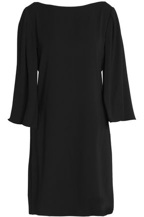 HALSTON HERITAGE Embroidered chiffon-paneled cady mini dress