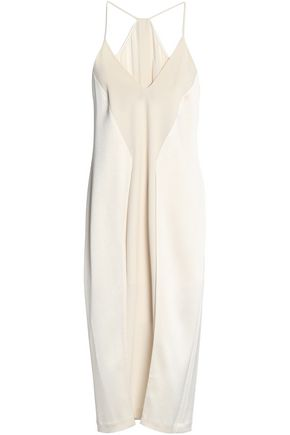 HALSTON HERITAGE Paneled crepe, satin and chiffon midi dress