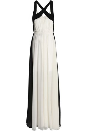 HALSTON HERITAGE Two-tone gathered chiffon gown
