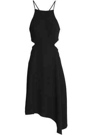 HALSTON HERITAGE Asymmetric cutout crepe dress