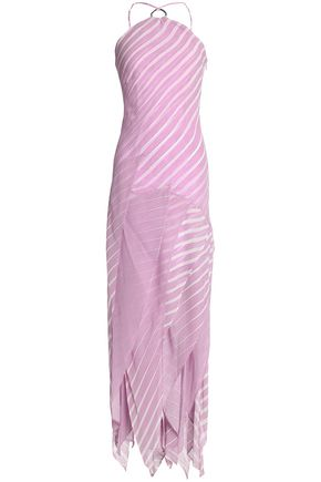 HALSTON HERITAGE Layered striped silk-chiffon gown