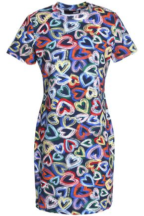 Love Moschino Woman Printed Cotton-blend Stretch-knit Dress Multicolor Size 40 Love Moschino 0c8Br