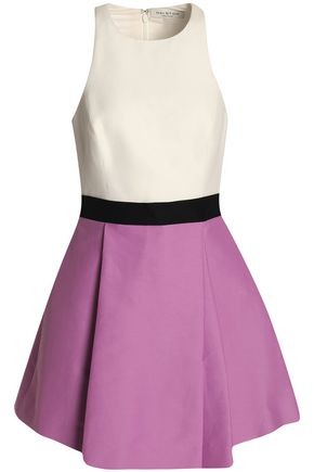 HALSTON HERITAGE Pleated color-block cotton and silk-blend mini dress