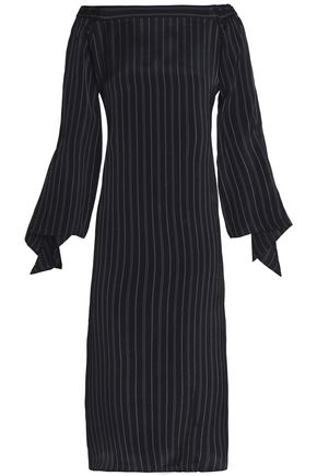 TIBI DOff-the-shoulder draped pinstriped cady midi dress
