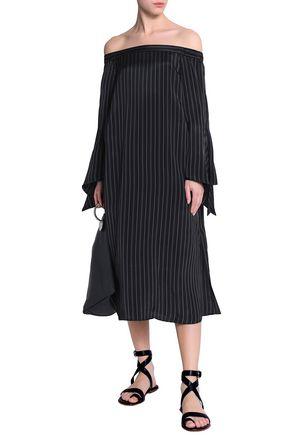 TIBI Off-the-shoulder tie-back pinstriped twill midi dress