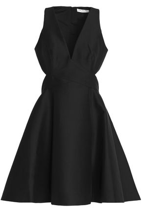 HALSTON HERITAGE Open-back pleated cotton and silk-blend mini dress