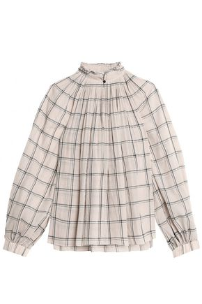 TIBI Beebe pleated checked cotton-gauze blouse