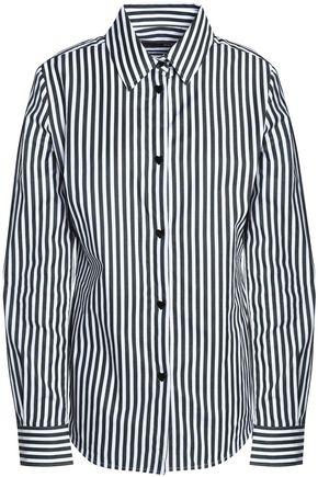 LOVE MOSCHINO Striped cotton-poplin shirt
