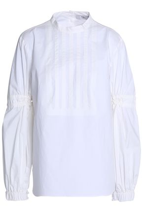 TIBI Pintucked shirred cotton-poplin blouse