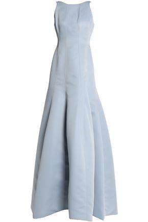 HALSTON HERITAGE Fluted duchesse-satin gown