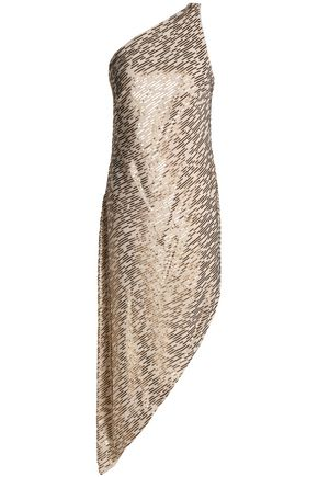 HALSTON HERITAGE One-shoulder sequin-embellished crepe de chine dress