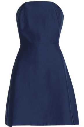 HALSTON HERITAGE Strapless cotton and silk-blend mini dress