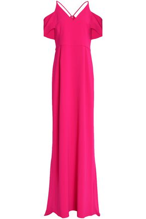 HALSTON HERITAGE Cold-shoulder stretch-crepe gown