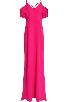 HALSTON HERITAGE Cold-shoulder crepe gown