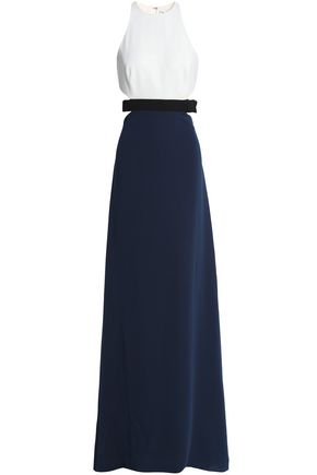 HALSTON HERITAGE Color-block cutout crepe de chine gown