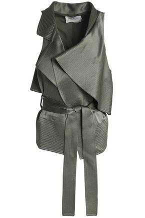HALSTON HERITAGE Belted draped satin vest