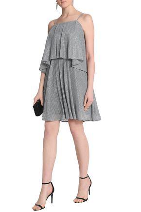 HALSTON HERITAGE Layered plissé lamé mini dress