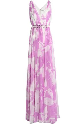HALSTON HERITAGE Belted floral-print georgette gown