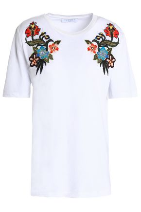 SANDRO Paris Embroidered cotton-jersey top
