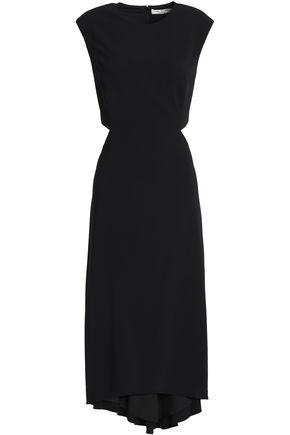 HALSTON HERITAGE Draped cutout crepe dress