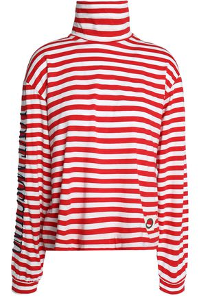 LOVE MOSCHINO Striped cotton-jersey turtleneck top