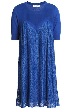 SANDRO Pleated lace-paneled linen and cotton-blend mini dress