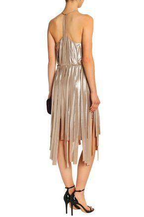 HALSTON HERITAGE Fringed lamé dress