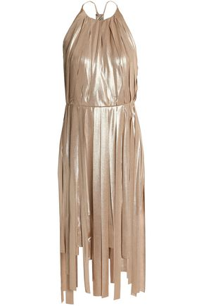 HALSTON HERITAGE Fringed lamé dress