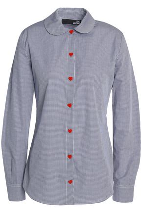 LOVE MOSCHINO Gingham cotton-poplin shirt