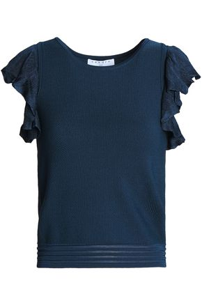 SANDRO Ruffle-trimmed knitted top