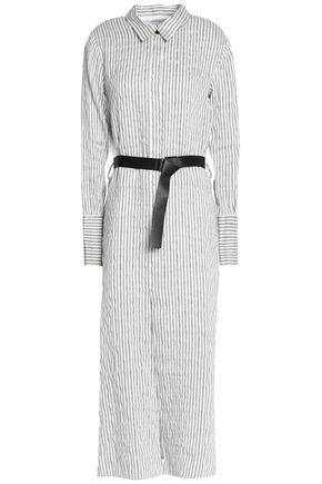 HALSTON HERITAGE Belted striped linen-blend seersucker midi shirt dress