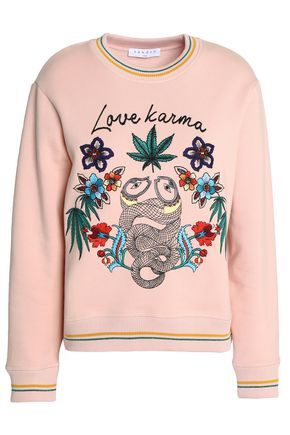 SANDRO Paris Love Karma embroidered French cotton-blend terry sweatshirt
