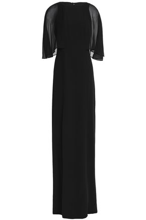 HALSTON HERITAGE Chiffon-paneled crepe de chine gown