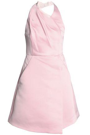 HALSTON HERITAGE Wrap-effect duchesse-satin halterneck dress