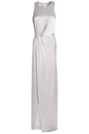 HALSTON HERITAGE Twist-front draped crepe gown