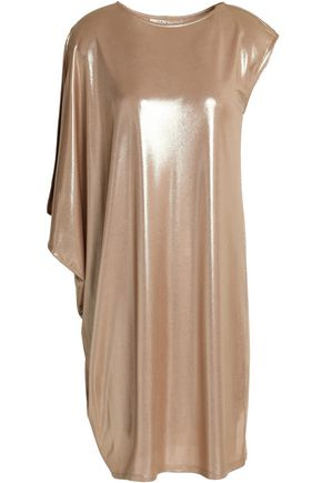 HALSTON HERITAGE Asymmetric lamé dress
