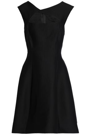 WOMAN FLARED CUTOUT COTTON AND SILK-BLEND DRESS BLACK