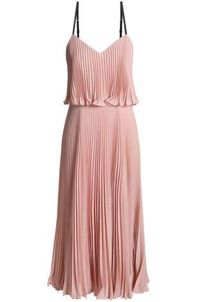 HALSTON HERITAGE Layered pleated crepe de chine midi dress