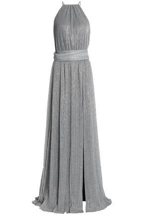 HALSTON HERITAGE Metallic plissé stretch-knit gown