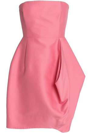 HALSTON HERITAGE Strapless pleated cotton and silk-blend mini dress