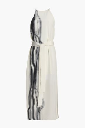 HALSTON HERITAGE Printed silk crepe de chine midi dress