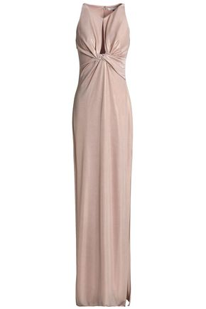 HALSTON HERITAGE Twist-front metallic stretch-jersey gown