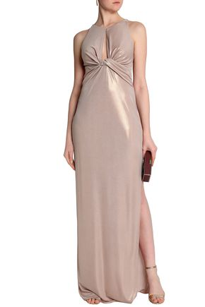 268b4bb4483 Twist-front metallic stretch-jersey gown | HALSTON HERITAGE | Sale ...