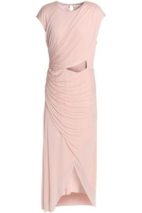 HALSTON HERITAGE Wrap-effect cutout voile midi dress