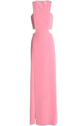 HALSTON HERITAGE Cutout crepe maxi dress