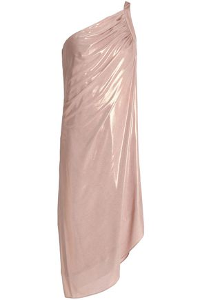 HALSTON HERITAGE One-shoulder draped lamé dress