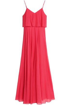 HALSTON HERITAGE Layered pleated voile gown